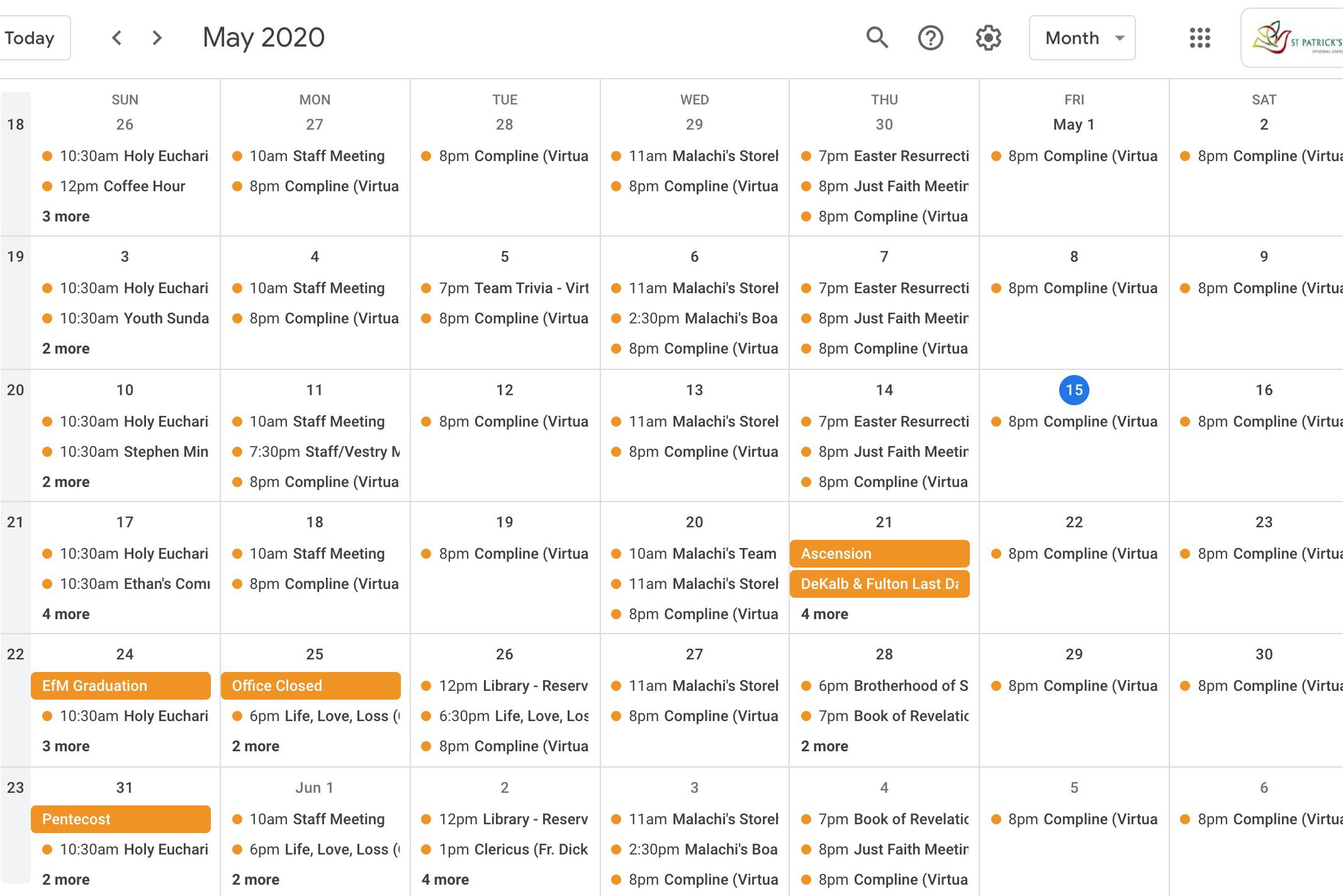 Screenshot of Church Calendar